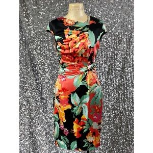 🖤 Kay Unger asymmetrical neck floral ruched dress